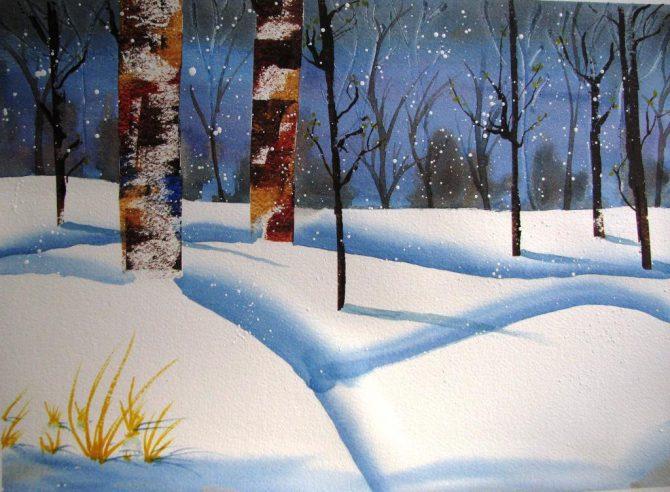 Bouleaux dans la neige