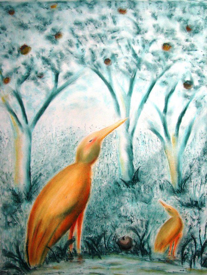 Oiseaux ailleurs en deux couleurs