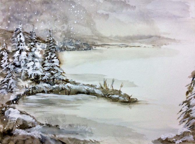 Au lac en février